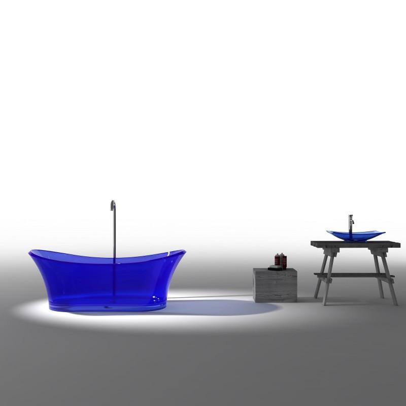 Buy Virta Blue 6520 Free Standing Glass Bathtub At