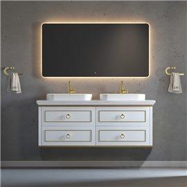 Virta 60 Inch Whitestar Wall Hung Double Vessel Sink Vanity