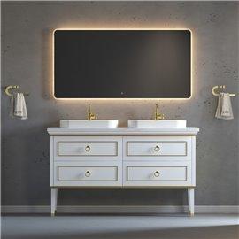 Virta 60 Inch Whitestar Floor Mount Double Sink Vessel Sink Vanity
