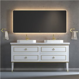 Virta 72 Inch Whitestar Floor Mount Double Sink Vessel Sink Vanity