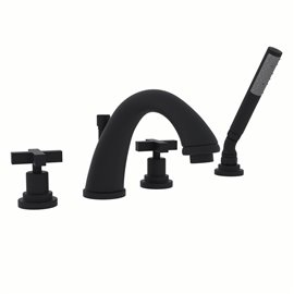 ROHL Lombardia® 4-Hole Deck Mount C-Spout Tub Filler With Handshower