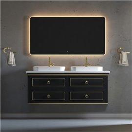Virta 60 Inch Blackstar Wall Hung Double Vessel Sink Vanity