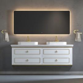 Virta 72 Inch Whitestar Wall Hung Double Vessel Sink Vanity