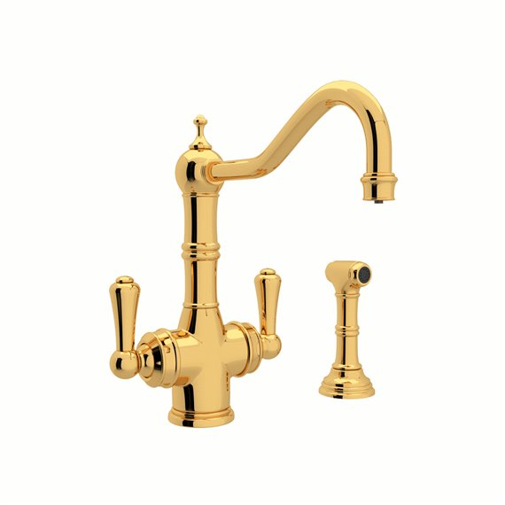 Perrin & Rowe Edwardian™ Two Handle Filter Kitchen Faucet with Side Spray