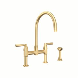 Perrin & Rowe Holborn™ Bridge Kitchen Faucet with C-Spout and Side Spray