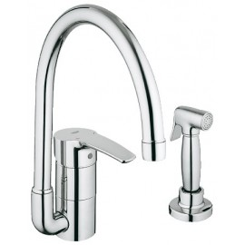 GROHE 33980 Eurostyle Kitchen Faucet w Metal Side Spray