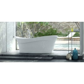 Victoria + Albert Pescadero Freestanding Wave-Shaped Tub On Right Side