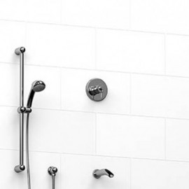 Riobel KIT1223AT 0.5 2-way Type TP thermostaticpressure balance coaxial system with spout and hand shower rail