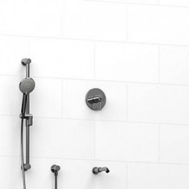 Riobel KIT1223GS 0.5 2-way Type TP thermostaticpressure balance coaxial system with spout and hand shower rail