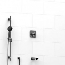 Riobel KIT1223SA 0.5 2-way Type TP thermostaticpressure balance coaxial system with spout and hand shower rail