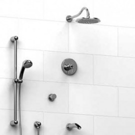 Riobel KIT1343AT Type TP thermostaticpressure balance 0.5 coaxial system with hand shower rail shower head tub spout and 3-wa...