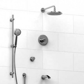 Riobel KIT1343ATOP Type TP thermostaticpressure balance 0.5 coaxial system with hand shower rail shower head tub spout and 3-...