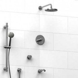 Riobel KIT1343CSTM Type TP thermostaticpressure balance 0.5 coaxial system with hand shower rail shower head tub spout and 3-...