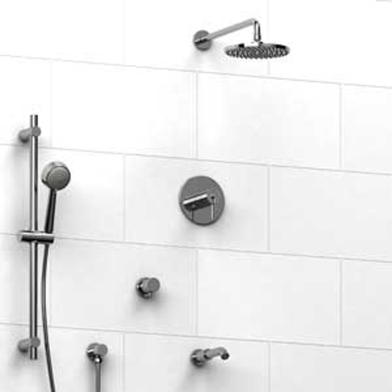 Riobel KIT1343CSTM Type TP Thermostaticpressure Balance 0.5 Coaxial System  With Hand Shower Rail Shower Head Tub ...
