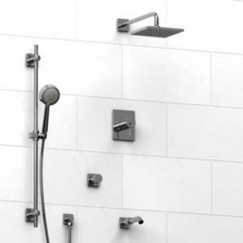 Riobel KIT1343CSTQ Type TP thermostaticpressure balance 0.5 coaxial system with hand shower rail shower head tub spout and 3-...