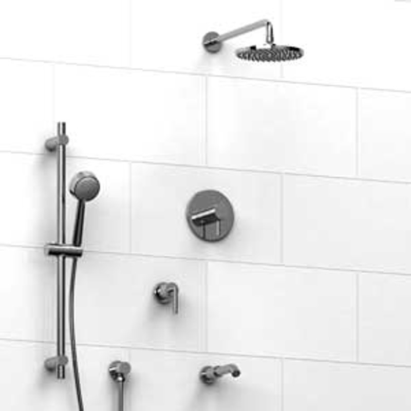 Riobel KIT1343SYTML Type TP Thermostaticpressure Balance 0.5 Coaxial System  With Hand Shower Rail Shower Head Tub ...