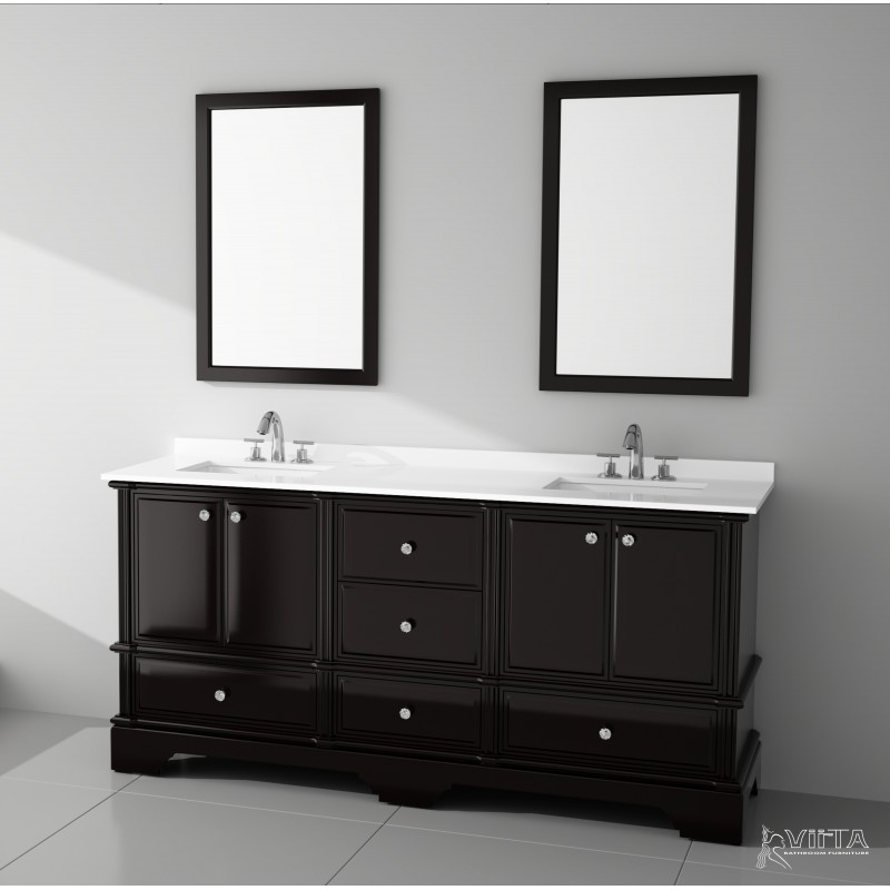 ... Virta 72 Inch CHARM Solid Wood Floor Mount Vanity With Crystal Knob ...