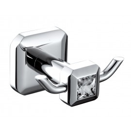 Lluvia Robe Hook Square With Crystal - RH02S