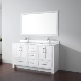 Virta 60 Inch Flow Floor Mount Double Sink Vanity - Without Countertop