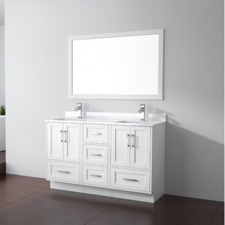 Virta 54 Inch Flow Floor Mount Double Sink Vanity - Without Countertop