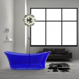 "Virta Blue Freestanding Glass 68"" Bathtub"