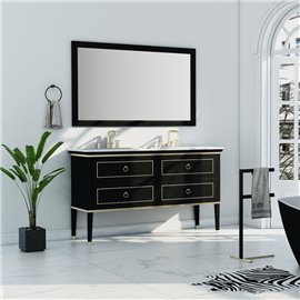 Virta 60 Inch Blackstar Floor Mount Double Sink Vanity