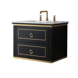 Virta 24 Inch Blackstar Wall Hung Single Sink Vanity
