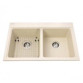 Kindred KGDL2031 Granite drop-in double sink 1 hole includes grid