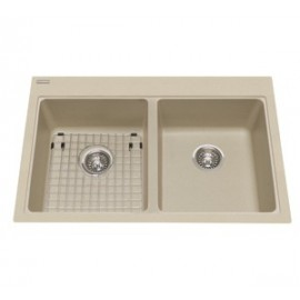 Kindred KGDL2233 Granite drop-in double sink 1 hole includes grid