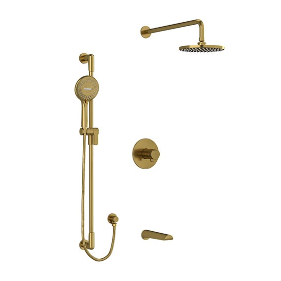 """Riobel Parabola KIT1345PB Type T/P thermostatic/pressure balance ½"""" coaxial 3-way system with hand shower rail, shower head and"""
