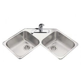 Kindred QCR Double Bowl corner Sink 20 gauge