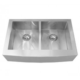 Kindred QDFS31B 20 gauge hand fabricated apron front double bowl sink