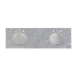 """Fairmont Designs 3cm (1-1/4"""") 73"""" Tops Double Bowl Countertop 8"""" Widespread Ease Edge"""